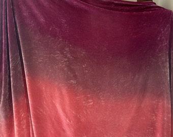 Magenta Mauve Salmon Silk Velvet Yardage Fabric