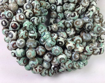 37pcs 16 inch long faceted round Tibetan agate beads in 10mm