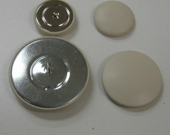 Leather Covered Button Set #15 Bone