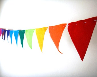 Bunting Flags- Rainbow of Colors eco felt pennants