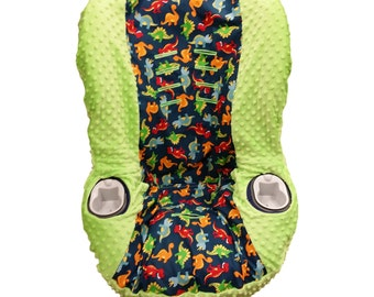 Dinosaur & Lime Car Seat Cover for Graco myRIDE 65 or 70