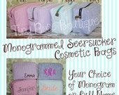 Personalized Monogrammed Seersucker Cosmetic Bag, Makeup Case - Bridesmaid, Wedding, Graduation, Birthday Gift
