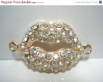 CLOSEOUT CLEARANCE SALE- Lip Links - Spacer - Cross Connector - Charm with Rhinestones - 12 pieces - Rose Gold