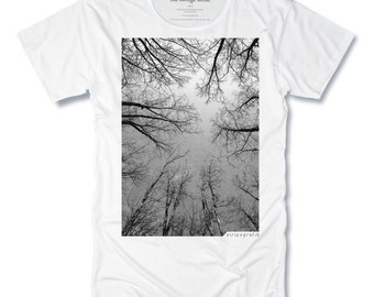 THE FOREST Mens Tshirts Tree Tee Hand Pulled Screen Print on White Mens Scoop Neck Tee size Small, Medium, Large, XLarge - Free Shipping