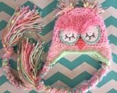 Pastel Sleepy Pink Owl Hat, Photo Prop, Newborn Photo Prop, Pink Owl Hat, Baby Girl, Crochet, Hat, Pink, Green, Fuzzy