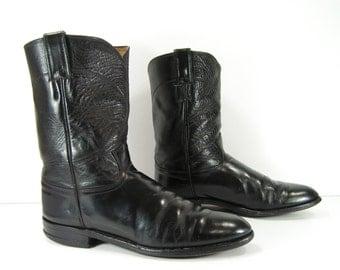 roper cowboy boots mens 9 D black vintage justin leather western round toe usa