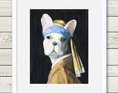 French Bulldog Art - French Bulldog Vermeer - Dog Portrait Art, dog home decor, dog painting