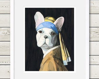 French Bulldog Art - French Bulldog Vermeer - Dog Portrait Art, dog home decor, dog painting