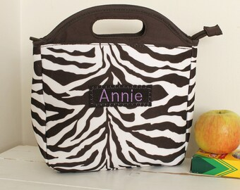 Tote Lunch Bag Personalized -- PBTeen -- Chocolate Zebra