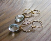 Swiss Blue Topaz Briolette Earrings with Gold Filled Rings.