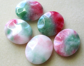 Candy Jade Wavy Oval Gemstone Pendant Focal Bead Semi Precious Gemstone Beads Pink Green White (1)