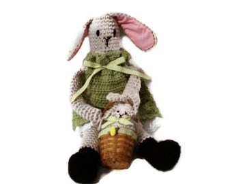 Beatrice the Light Gray Crocheted Stuffed Toy Doll Rabbit in Green Dress with Her Baby Bunny in Basket Handmade Toy for Kids Children