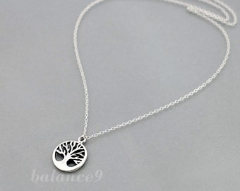 Tree Necklace, Sterling silver necklace, tree of life charm pendant, everyday jewwelry, holidays gift, by balance9