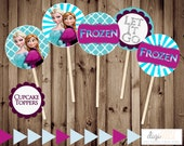 50% off -- INSTANT Download -- FROZEN Cupcake Toppers -- Tags -- Printable