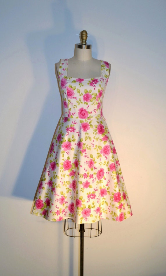 Vintage 1980s Dress - 80s Floral Dress - 80s Does 60s Pink and White Dress
