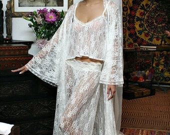 Fairy Lace Bridal Pajama Off White Ivory Lace Wedding Lingerie Bridal Sleepwear Sarafina Dreams