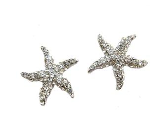 5 Starfish Crystal Rhinestone Flatback Buttons - Wedding Invitation Card Hair Accessories Shoe Clip FRB-020 (22mm or 0.8inch)