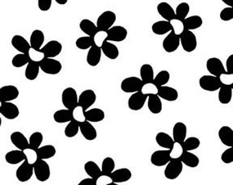 ON SALE - Benartex Sun-Kissed Cotton Quilt Fabric Daisies on White Black Flowers - By The 1/2Y