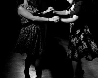 The Dancers 10x8 black and white, retro style fine art photograph
