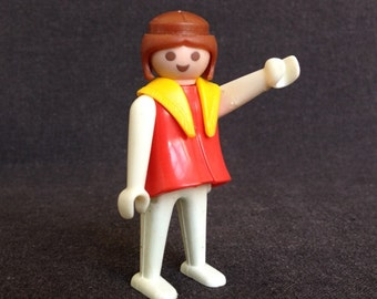 Vintage 1974 Playmobil first generation red toy.