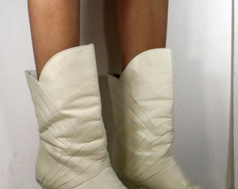Vintage riding high heel women white mid calf Leather fashion campus boots 7 M B