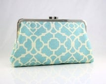 Dusty Blue Floral pattern - 8 inches Bridesmaid Clutch - the Christine Style Clutch