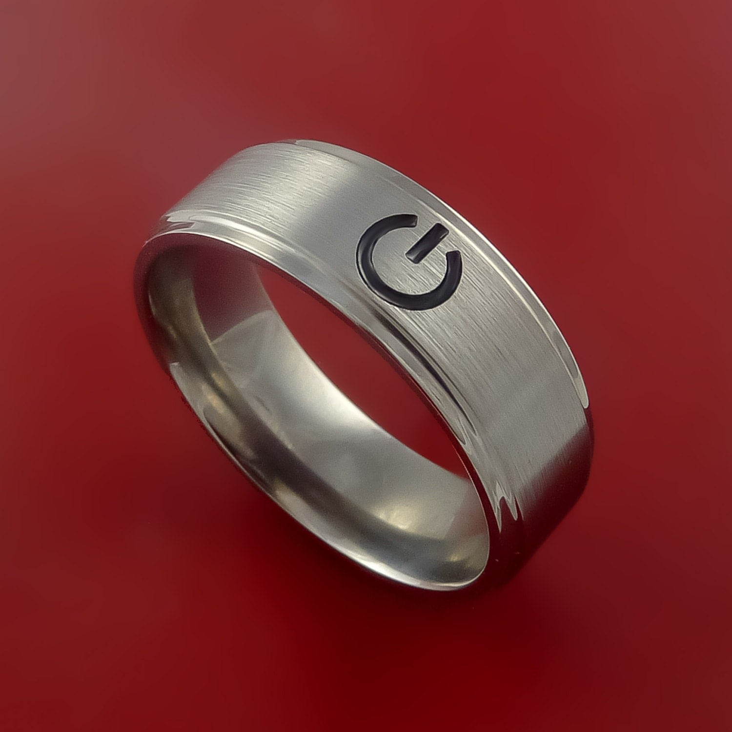 titanium power symbol computer ring made to any sizing
