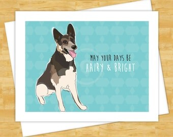 Dog Christmas Cards - German Shepherd May Your Days Be Hairy and Bright - Happy Holiday Cards