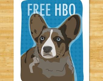 Cardigan Corgi Art Print - Free HBO - Blue Merle Cardigan Corgi Gifts Dog Art