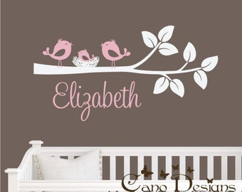 Branch with Birds, nest and  personalized name -  Vinyl Wall Decal, nursery, kids room, removable wall decal set, Nursery decor