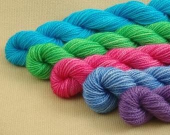 Mini Skeins Springtime Sampler - Set of 5 - Hand Dyed Fingering Weight Sock Yarn - 100% Fine Organic Superwash Merino Wool Yarn