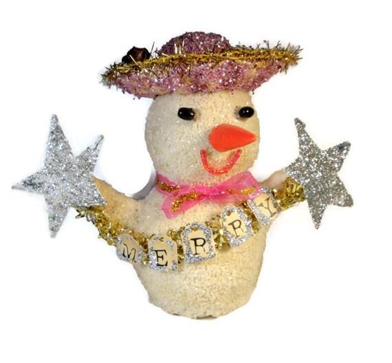 Merry Pink Snowgirl Paper Mache Decoration