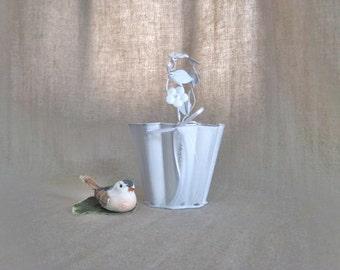 Dainty Upcycled Flower Girl Basket / Pail in White / Shabby White Flower Girl Basket with Floral Handle / Sweet Little Pail for Flower Girl