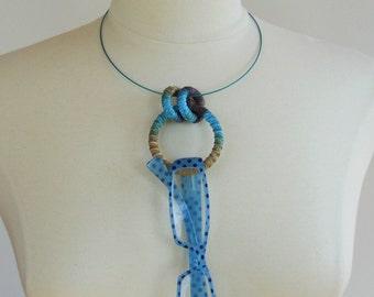 Simple Textile Necklace ...or EYEGLASSES HOLDER Bluebell