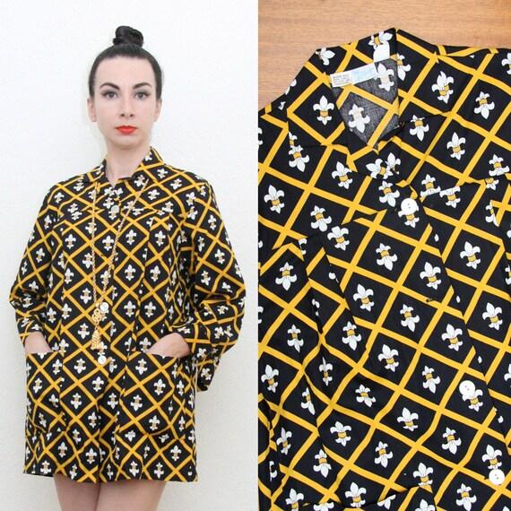 Vintage 60s 70s Fleur De Lis Print Tunic Small
