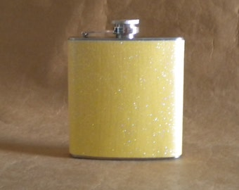 Yellow or ANY Color Sparkly 6 ounce Stainless Steel Girly Gift Flask KR2D 6364