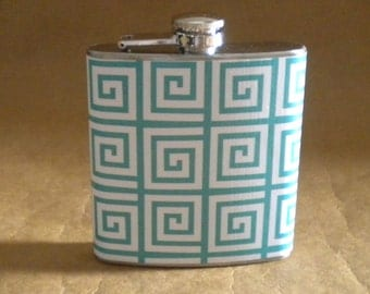 Blue and White Square Print Party Favors Sorority Bridesmaids Gift 6 ounce Stainless Steel Flask KR2D 7619