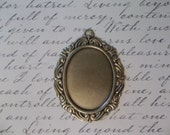 Vintage Inspired 40X30mm Antiqued Brass Swag Design Setting - Qty 1