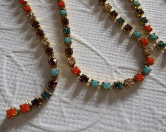 Rhinestone Chain Multi-Color Czech Crystal 2mm 14PP 6SS in Brass Setting - Qty 1 yard (36 inches)