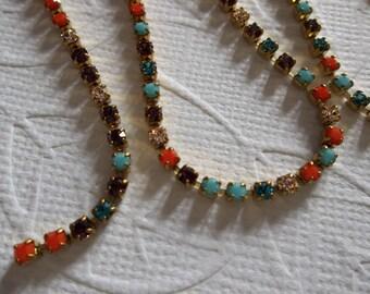 2mm Multi-Color Rhinestone Chain - Brass Setting - Preciosa Czech Crystals - Turquoise Aqua Coral Purple Clear