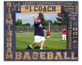 Personalized Coaches Gifts-#1 Coach Picture Frame-Team and Sport Specific-#1 Coach Gift-Wood Engraved-Color Choice