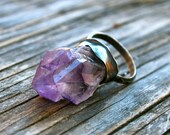 50% OFF SALE - Amethyst Point Cluster Sterling Silver Ring - Size 7.5