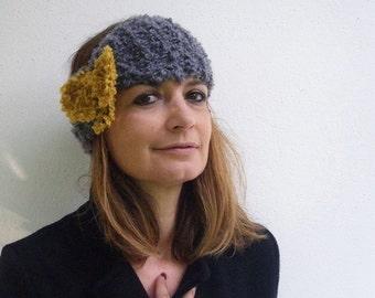 Cable knit headband, Boho headband, Ear Warmers, Papillon, Fashion women, hair accessories, Gray yellow headband, Winter Magic Chic Women