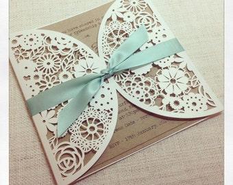 Rustic Mint Laser Cut Wedding Invitation - Laser Cut invitation SAMPLE