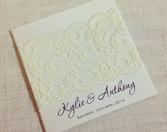 Ivory Vintage Lace square Wedding Invitation x 50