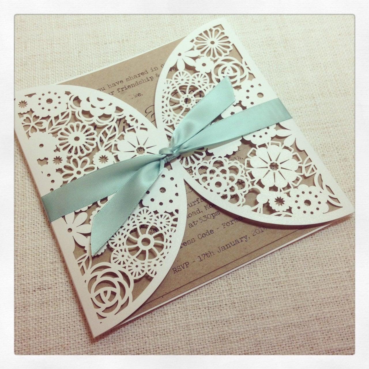 Rustic mint laser cut wedding invitation laser cut for Laser cut wedding invitations minted