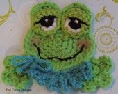 Cute Frog Applique Crochet Pattern Instant Download Instruction Tutorial Embellishment