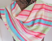 Beautiful Colorful Striped Ladies Sheer Poly Scarf - 26 x 26 Square
