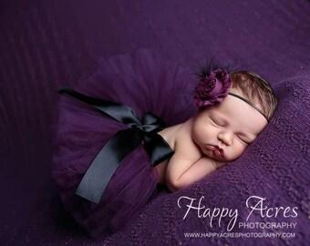 PLUM PRINCESS tutu, newborn tutu and headband, baby tutu, photography prop