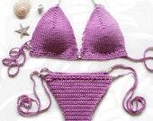 Crochet Bikini top and brazilian bottom , Swimwear, Crochet Swimsuit, Sexy crochet beach wear,Crochet top and bottoms with metal beads